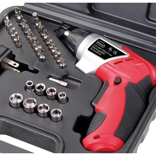 View a Larger Image of 3.6V Lithium-Ion Rechargeable Screwdriver with 45 Piece Acce