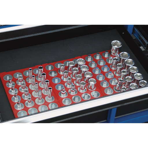 View a Larger Image of 3/8 In. Drive 6-1/8 In. x 10-1/4 In. Red Socket Caddy & 28 Interchangeable Pegs