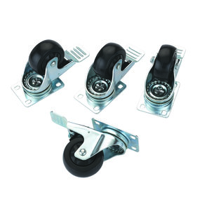 "3"" Caster Double Locking Swiveling with 4 Hole Mounting Plate 4 pk"