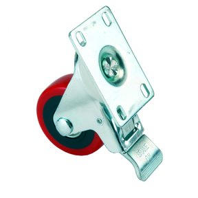 "3"" Caster, Double Locking, Swiveling with 4 Hole Mounting Plate, 4-1/4"" Tall"