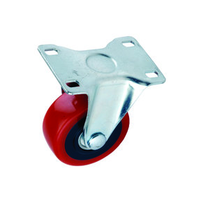 "3"" Caster Non-locking Non-swiveling with 4 Hole Mounting Plate 4-1/4"" Tall"