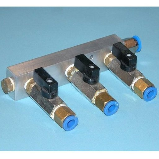"View a Larger Image of 3-Port Manifold for Vacuum Pump, Billet Aluminum, Anodized 1/4"" NPT"