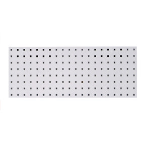 30 In. W x 12 In. H White Epoxy, 18 Gauge Steel Square Hole Pegboard Strip