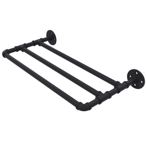 "View a Larger Image of  30"" Wall Mounted Towel Shelf, Matt Black Finish"