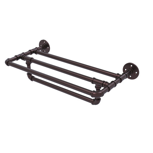 "View a Larger Image of  30"" Wall Mounted Towel Shelf with Towel Bar, Antique Bronze Finish"