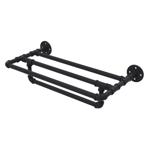 "View a Larger Image of  30"" Wall Mounted Towel Shelf with Towel Bar, Matt Black Finish"