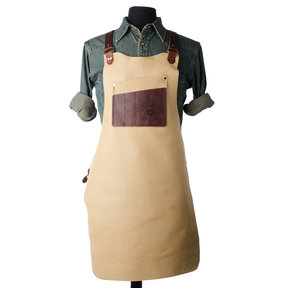 "30"" Leather Shop Apron with Neck Strap, Bison"