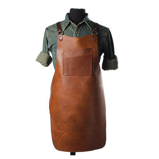 "View a Larger Image of 30"" Leather Shop Apron with X-back, Mahogany"