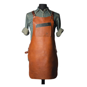 "30"" Leather Shop Apron with X-back, Tobacco"