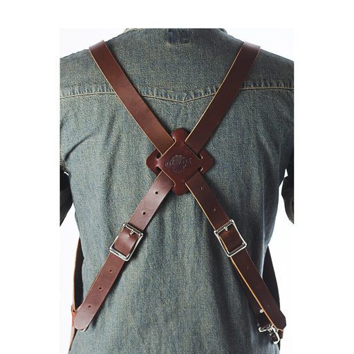 "View a Larger Image of 30"" Leather Shop Apron with X-back, Tobacco"