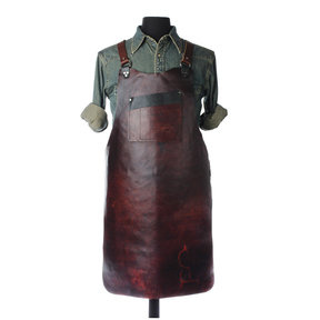 "30"" Leather Shop Apron with Y-back, Walnut"