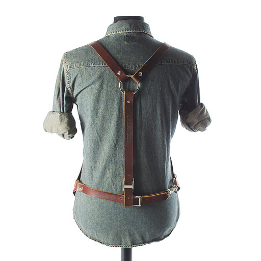 "View a Larger Image of 30"" Leather Shop Apron with Y-back, Walnut"