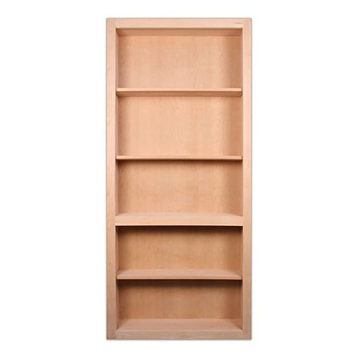 View a Larger Image of 32 in. x 80 in. Flush Mount Assembled Cherry Unfinished Wood 4-Shelf InvisiDoor Bookcase Door