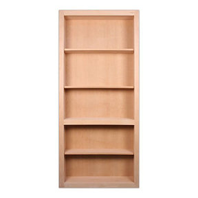 32 in. x 80 in. Flush Mount Assembled Cherry Unfinished Wood 4-Shelf InvisiDoor Bookcase Door