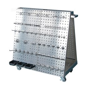 36-3/4 In. L x 39-1/4 In. H x 21-1/4 In. W Anodized Aluminum Frame SS LocBoard Tool Cart with Tray, 60 pc Stainless Stee