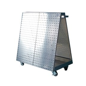 36-3/4 In. L x 39-1/4 In. H x 21-1/4 In. W Anodized Aluminum Frame Stainless Steel LocBoard Tool Cart with Tray