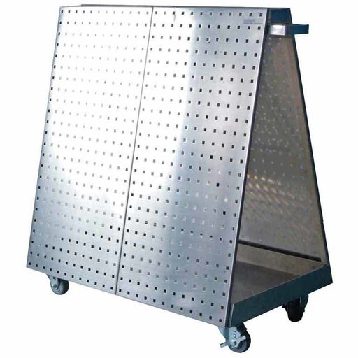 View a Larger Image of 36-3/4 In. L x 39-1/4 In. H x 21-1/4 In. W Stainless Steel Frame Tool Cart with Tray and Stainless Steel LocBoard