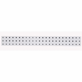 36 In. W x 4.5 In. H White Epoxy, 18 Gauge Steel Square Hole Pegboard Strip