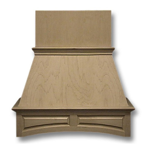 View a Larger Image of 36-in. Wide Arched Raised Panel Red Oak Wood Wall-Mount Range Hood