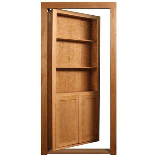 View a Larger Image of 36 in. x 80 in. Flush Mount Assembled Cherry Unfinished Wood 4-Shelf InvisiDoor Bookcase Door