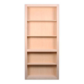 36 in. x 80 in. Flush Mount Assembled Maple Unfinished Wood 4-Shelf InvisiDoor Bookcase Door