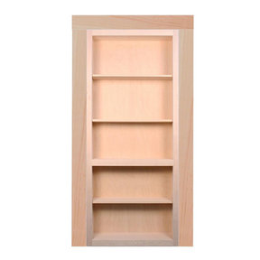 36 in. x 80 in. Flush Mount Ready-to-Assemble Unfinished Maple InvisiDoor Bookcase Door with Trim Molding