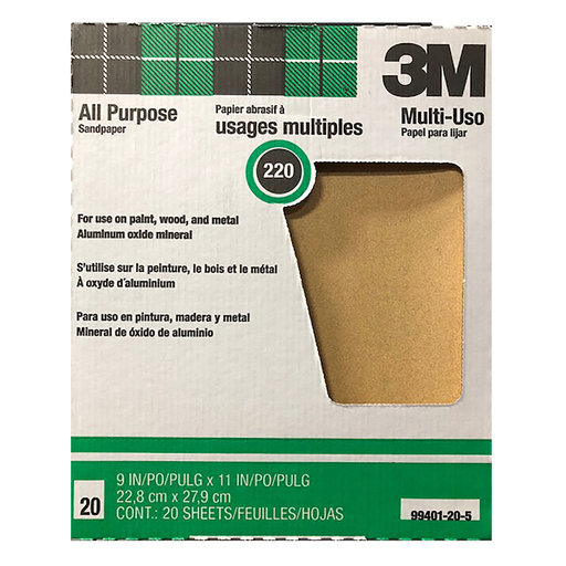 View a Larger Image of 3M 220 grit All purpose Sanding Sheets