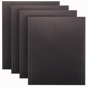 (4) 24 In. W x 48 In. H x 1/4 In. D Custom Painted Jet Black Heavy Duty Tempered Round Hole Pegboards