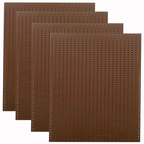 (4)  24 In. W x 48 In. H x 1/4 In. D Heavy Duty Brown Commercial Grade Tempered Round Hole Pegboards