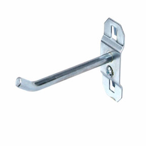 4 In. Single Rod 30 Degree Bend 3/16 In. Dia. Zinc Plated Steel Pegboard Hook for LocBoard, 5 Pack