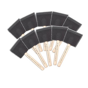 "4"" Wooden Handle Foam Brushes, 10-Pack"