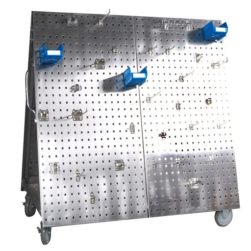 View a Larger Image of 48 In. L x 46 In. H x 26-5/8 In. W Stainless Steel Frame SS LocBoard Tool Cart with Tray, 66 pc Stainless Steel LocHook