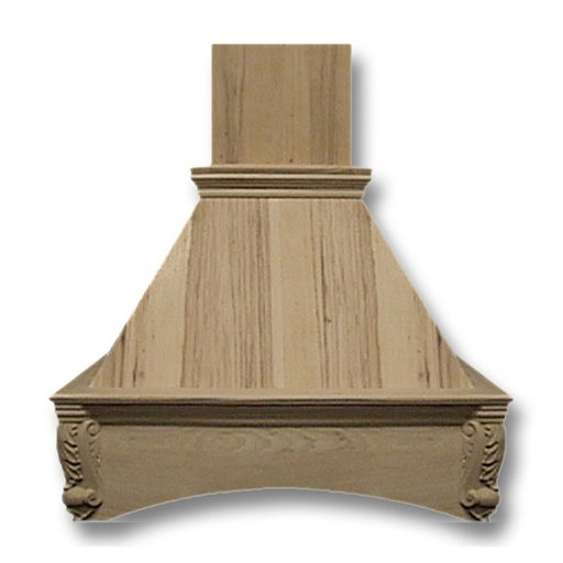 View a Larger Image of 48-in. Wide Arched Corbel Red Oak Wood Wall-Mount Range Hood