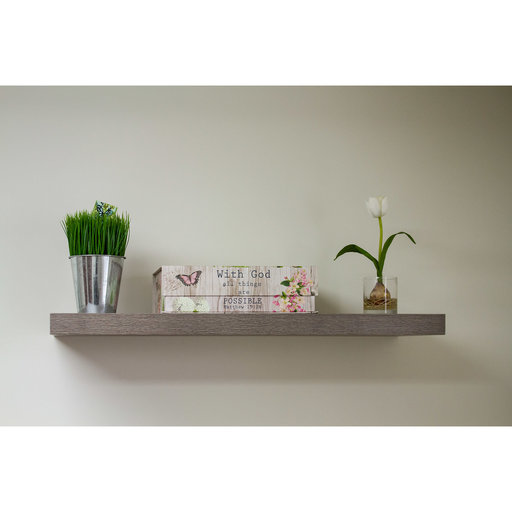 """View a Larger Image of 48"""" W x 13"""" D x 2"""" H Torino Gray Wood Floating Wall Shelf"""