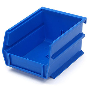 "5-3/8"" L x 4-1/8"" W x 3"" H Blue Stacking, Hanging, Interlocking Polypropylene Bins, 6 CT"
