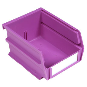 "5-3/8"" L x 4-1/8"" W x 3"" H Orchid Stacking, Hanging, Interlocking Polypropylene Bins, 6 CT"
