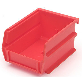 "5-3/8"" L x 4-1/8"" W x 3"" H Red Stacking, Hanging, Interlocking Polypropylene Bins, 6 CT"
