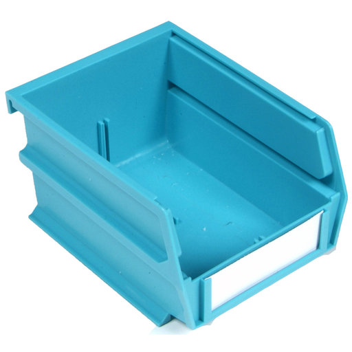 "View a Larger Image of 5-3/8"" L x 4-1/8"" W x 3"" H Teal Stacking, Hanging, Interlocking Polypropylene Bins, 10 CT"