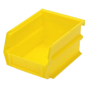 "5-3/8"" L x 4-1/8"" W x 3"" H Yellow Stacking, Hanging, Interlocking Polypropylene Bins, 6 CT"