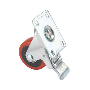 "5"" Caster, Double Locking, Swiveling with 4 Hole Mounting Plate"