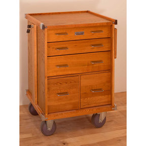 R-20 5-Drawer Rolling Cabinet, Oak