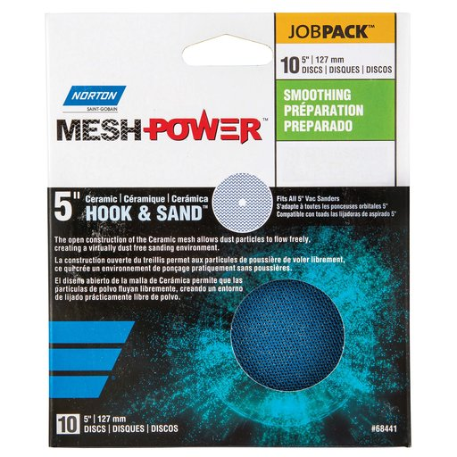 "View a Larger Image of 5"" MeshPower Ceramic Hook & Loop Sanding Disc 120G 10 pk"