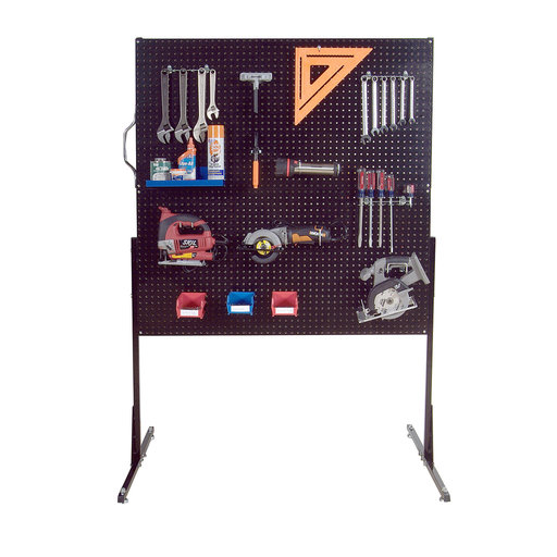 View a Larger Image of 50 In. W Free-Standing Pegboard Unit with 4 Black High Density Fiberboard Pegboards