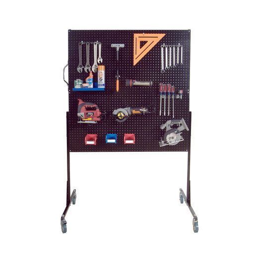 View a Larger Image of 50 In. W Mobile Stand-Alone Pegboard Unit with 4 Black High Density Fiberboard Pegboards