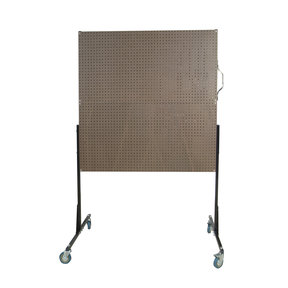 50 In. W Mobile Stand-Alone Pegboard Unit with 4 Brown Tempered Wood Pegboards