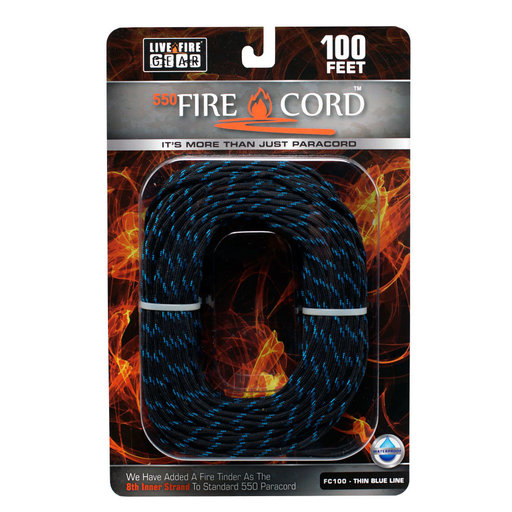 View a Larger Image of  550 FireCord - 100' THINBLUELINE Paracord
