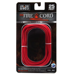 550 FireCord - 25' RED Paracord