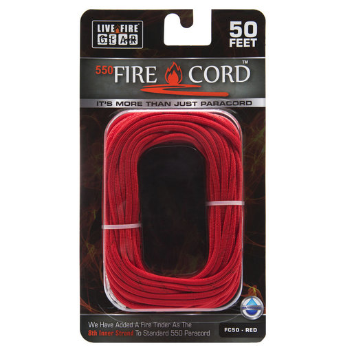 View a Larger Image of  550 FireCord - 50' RED Paracord