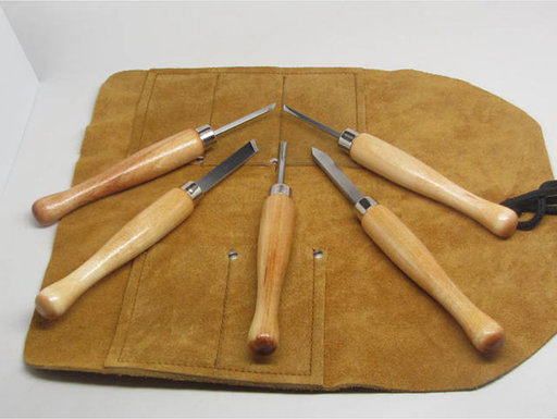 View a Larger Image of 5pc Mini Lathe Woodturning Tools w/Tool Roll