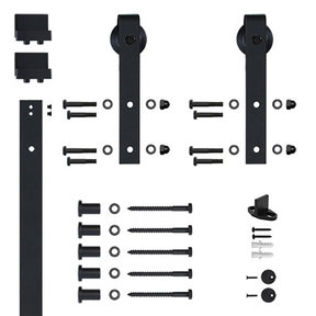 6.6 Ft. Black Hook Strap Rolling Door Hardware Kit for Wood Door